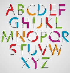 Funny constructive colorful font cartoon rounded vector