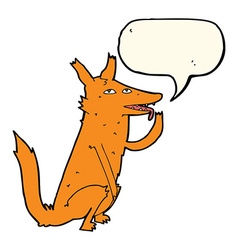 Cartoon fox licking paw with speech bubble vector