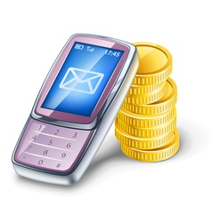 Mobile phone and coins vector