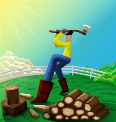 Man chopping wood vector