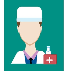 Profession people doctor face male uniform avatars vector