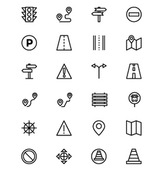 Road outline icons 1 vector