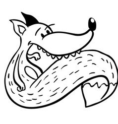 Black and white fox vector