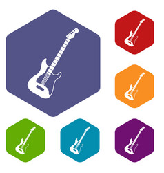 Acoustic guitar icons set hexagon vector