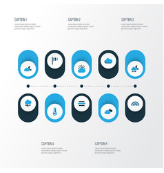 Air colorful icons set collection of overcast vector