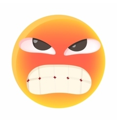 Angry emoticon icon in cartoon style vector image