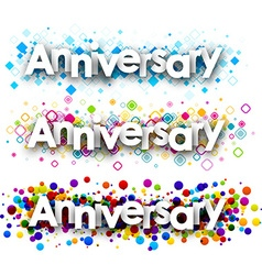 Anniversary colour banners vector