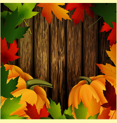 Autumn leaves frame and pumpkins on wooden texture vector