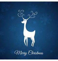 Blue Christmas postcard whit christmas deer vector image vector image