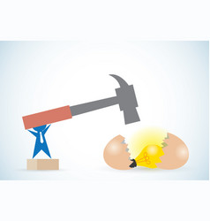 businessman holding hammer to break egg vector image vector image