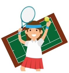 Character girl tennis racket court vector