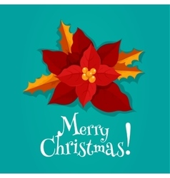 Christmas holiday poster with poinsettia flower vector