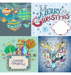 color Christmas card set vector image vector image
