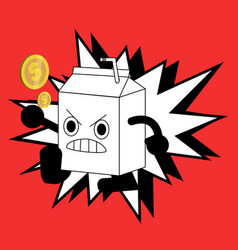 cute milk box fighter cartoon character vector image