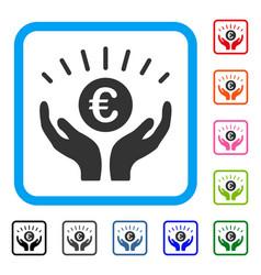 Euro prosperity framed icon vector