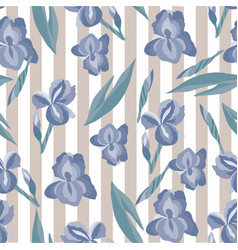 Floral pattern with irises on the striped vector