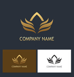 gold wing abstract company logo vector image vector image