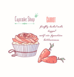 Hand drawn cupcake carrot flavor vector