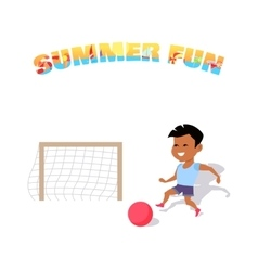 Happy boy play with a ball summer fun vector