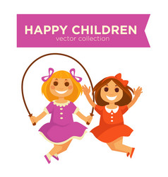 Happy children girls jumping jump rope playing vector
