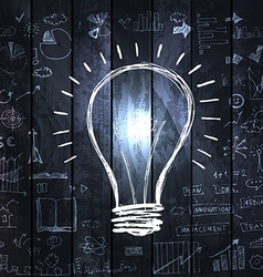 Light bulb with drawing business success strategy vector image vector image