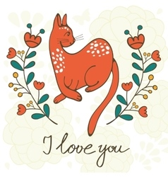Love card with elegant cat vector