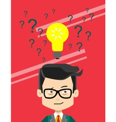 Man thinking making choise selecting what idea vector