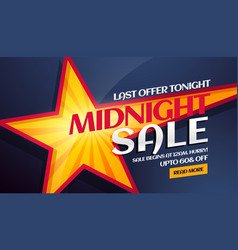 Midnight sale banner with yellow star in vector