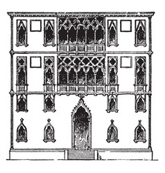 Palace faade palace in venice vintage engraving vector