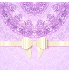 Purple vintage lacy wedding card template vector
