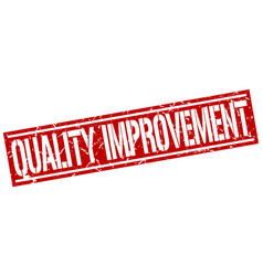 Quality improvement square grunge stamp vector