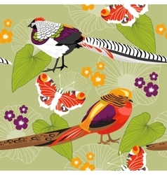 Seamless floral texture with birds vector image vector image