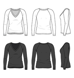 V-neck tee with raglan sleeve vector image