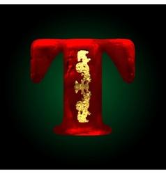 Velvet t letter with gold vector