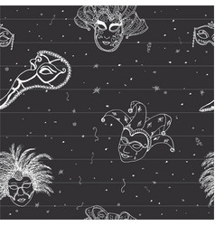 venice italy carnival masks seamless pattern hand vector image vector image