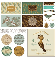 Vintage bird party set - for party decoration vector