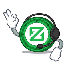 With headphone zcoin mascot cartoon style vector