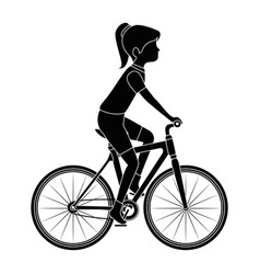 woman cyclist riding a bicycle vector image vector image
