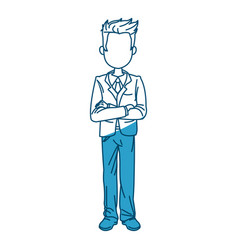 Young business man standing with his hands cross vector