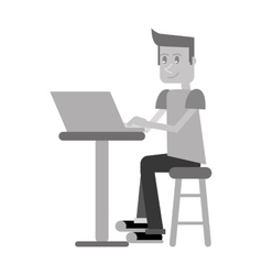 Young man sitting working computer monochromatic vector