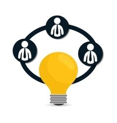 Pictogram bulb teamwork support design vector