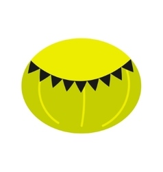 Green round beanbag chair isolated icon vector