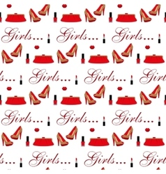 Cosmetics shoes bag Seamless pattern vector image