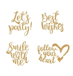 Golden Quotes set for Valentines day vector image