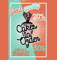 color vintage cakes to order banner vector image