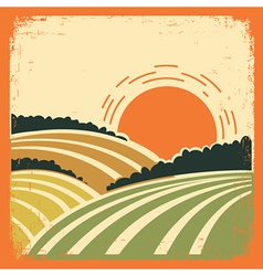 Landscape with fields on old poster vector