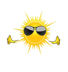 Sun with sunglass cartoon art vector