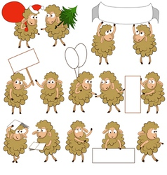 Set of various cartoon sheeps in various poses vector