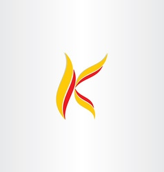 Yellow red icon letter k logo vector