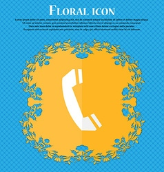 Phone sign icon support symbol call center floral vector